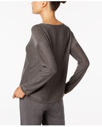 Eileen Fisher | Gray Long-sleeve Boat-neck Sweater | Lyst