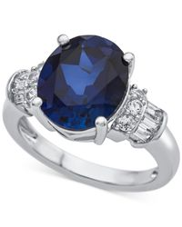 Macy's - Metallic Lab-created Sapphire (4-7/8 Ct. T.w.) & White Sapphire (1/3 Ct. T.w.) Ring In Sterling Silver - Lyst