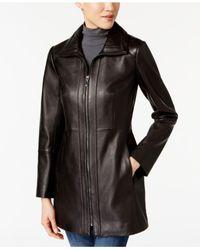 Anne Klein - Black Zip-up Leather Jacket - Lyst