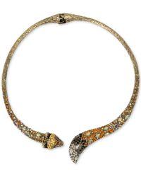 Betsey Johnson - Metallic Gold-tone Multi-stone Fox Hinged Collar Necklace - Lyst
