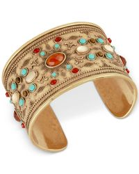 Lucky Brand - Metallic Gold-tone Beaded Cuff Bracelet - Lyst