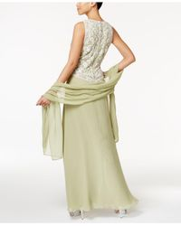 J Kara | Green Embellished Mock 2-pc. Gown And Shawl | Lyst