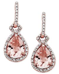 Macy's Pink Morganite (3 Ct. T.w.) & Diamond (1/5 Ct. T.w.) Drop Earrings In 10k Rose Gold