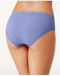 Natori Blue Bliss Lace-trim Cotton Brief 156058
