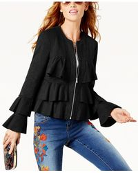 INC International Concepts - Black Ruffled Faux-suede Jacket - Lyst