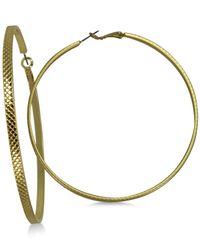 "Guess Metallic Gold-tone 3"" Large Textured Hoop Earrings"