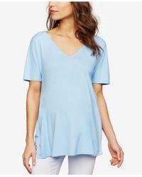 Isabella Oliver Blue Maternity V-neck T-shirt