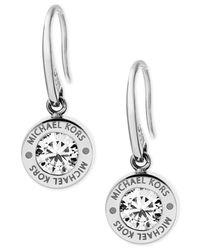 Michael Kors - Metallic Bezel Set Crystal Logo Drop Earrings - Lyst