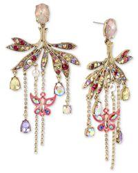 Betsey Johnson - Metallic Gold-tone Crystal & Pavé Butterfly Chandelier Earrings - Lyst