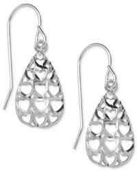 Macy's - Metallic Heart Cut-out Teardrop Drop Earrings In 10k White Gold - Lyst