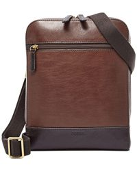 Fossil - Brown Rory Leather Courier Bag for Men - Lyst