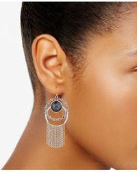 Lucky Brand - Metallic Silver-tone Multi-stone Double Hoop Fringe Drop Earrings - Lyst