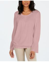 Style & Co. Pink Smocked-hem Top, Created For Macy