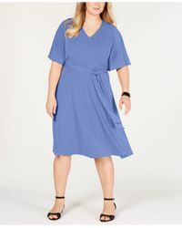 Charter Club Blue Plus Size Semi-fitted Midi Dress, Created For Macy's