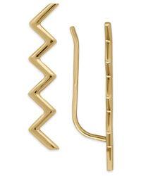 Macy's - Metallic Zigzag Ear Climber Earrings In 14k Gold, 1 Inch - Lyst