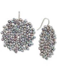 Kenneth Cole - New York Silver-tone Gray Imitation Pearl Woven Drop Earrings - Lyst