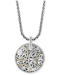Effy Collection Metallic Diamond Two-tone Filigree Disc Pendant Necklace (1/8 Ct. T.w.) In Sterling Silver & 18k Gold