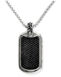 Effy Collection - Metallic Men's Black Sapphire Id Tag Pendant (1-3/4 Ct. T.w.) In Sterling Silver - Lyst