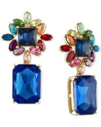 RACHEL Rachel Roy Blue Gold-tone Multi-stone Cluster Drop Earrings