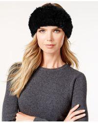 Surell - Black Stretchy Sheared Rabbit Fur Headband Neckwarmer - Lyst