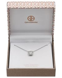 Giani Bernini Metallic Cubic Zirconia Halo Pendant Necklace In Sterling Silver, Created For Macy's