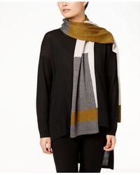 Eileen Fisher - Black Colorblocked Wool Scarf - Lyst
