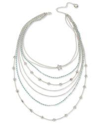 "BCBGeneration Metallic Silver-tone Star & Stone Multi-row Statement Necklace, 19"" + 3"" Extender"