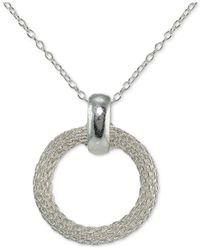 Giani Bernini - Metallic Mesh Circle Pendant Necklace In Sterling Silver - Lyst