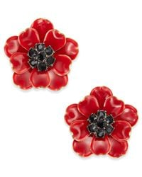 Kate Spade | Gold-tone Jet Stone Red Poppy Stud Earrings | Lyst
