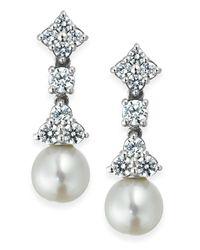 Arabella Metallic Cultured Freshwater Pearl (7mm) And Swarovski Zirconia (1-5/8 Ct. T.w.) Drop Earrings In Sterling Silver