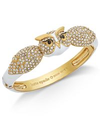 Kate Spade - Metallic Gold-tone Pavé & Enamel Owl Bangle Bracelet - Lyst