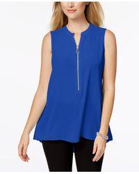 Alfani Blue Petite Zip-front Top, Created For Macy's