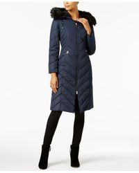 Laundry by Shelli Segal - Blue Faux-fur-trim Long Puffer Coat - Lyst