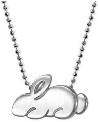 Alex Woo Metallic Little Rabbit Zodiac Pendant Necklace In Sterling Silver