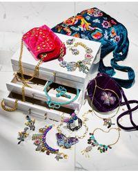 Betsey Johnson | Blue Gold-tone Multi-stone & Imitation Pearl Drop Earrings | Lyst
