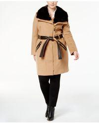 Via Spiga - Natural Plus Size Mixed-media Asymmetrical Coat - Lyst