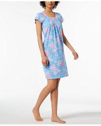 Miss Elaine Blue Rose-print Picot-trim Nightgown
