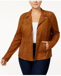 Style & Co. - Brown Plus Size Faux-suede Jacket - Lyst
