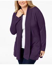 Karen Scott Purple Plus Size Textured Shawl-collared Cardigan Sweater, Created For Macy's