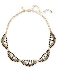 INC International Concepts - Black Gold-tone Beaded Scalloped Statement Necklace - Lyst