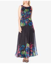 Tahari   Black Printed Organza Gown   Lyst