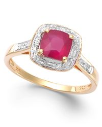 Macy's Red Ruby (1-1/4 Ct. T.w.) And Diamond Accent Ring In 14k Gold