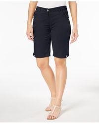 Karen Scott Blue Petite Solid Cotton Shorts, Created For Macy's