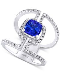 Effy Collection - Metallic Tanzanite (1-5/8 Ct. T.w.) And Diamond (3/4 Ct. T.w.) Statement Ring In 14k White Gold - Lyst