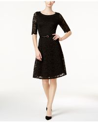 Charter Club - Black Belted Lace Fit & Flare Dress - Lyst