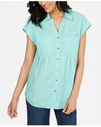Style & Co. Blue Pleated Cuffed-sleeve Top, Created For Macy