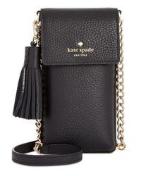 Kate Spade - Black North South Iphone 6/6 Plus/7/7 Plus/8 Mini Pebble Leather Crossbody - Lyst