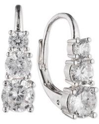 Anne Klein - Metallic Graduated Vertical Crystal Hoop Earrings - Lyst