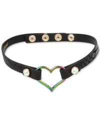 Betsey Johnson - Two-tone Open Heart Black Leather Choker Necklace - Lyst