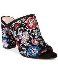 Avec Les Filles   Black Margaux Embroidered Block-heel Mules   Lyst